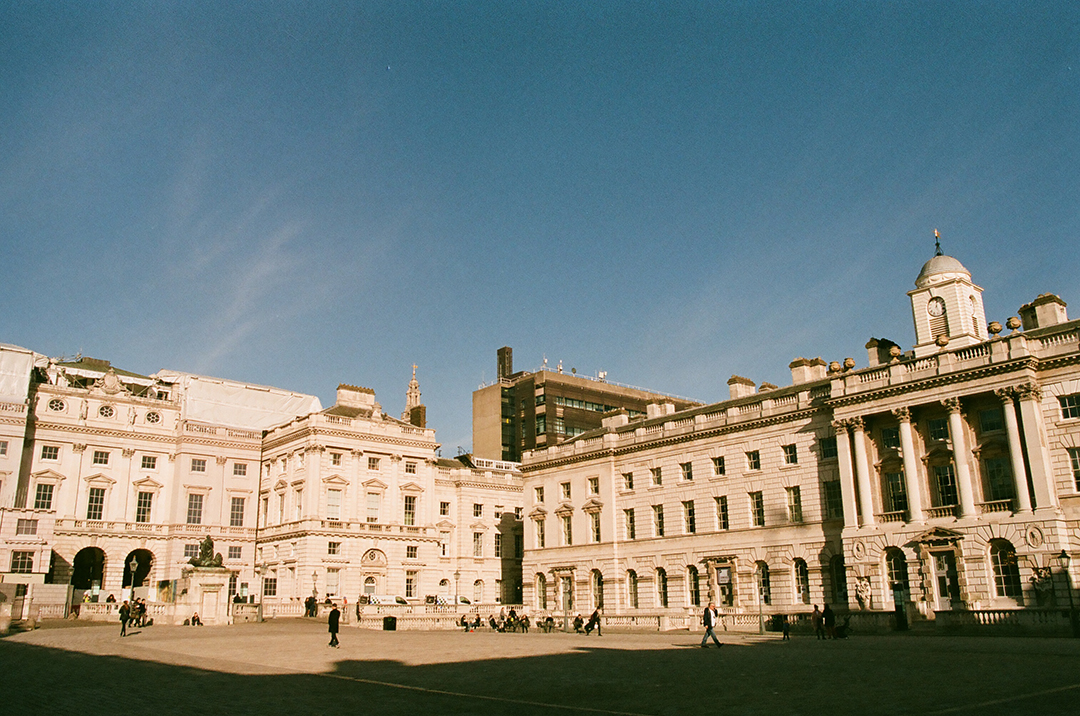 The cobbled courtyard of the neo-classical Somerset House